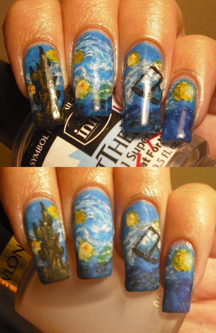 Starry TARDIS nail art by aleidapinon