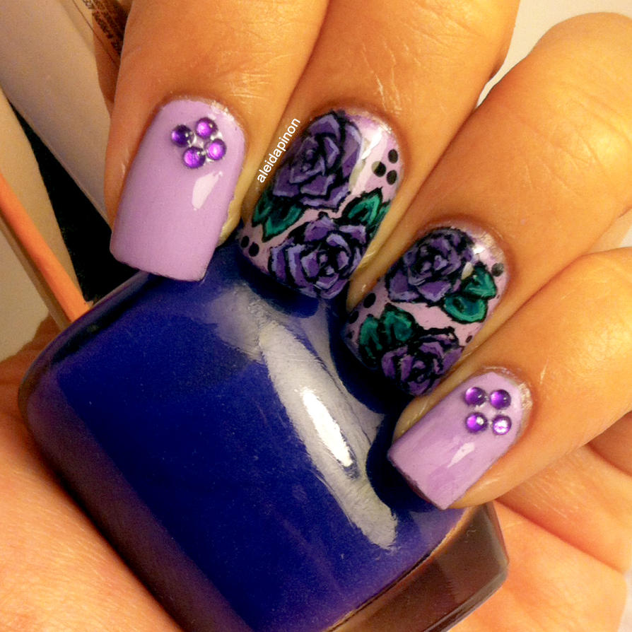 Purple Roses Nail Art by aleidapinon