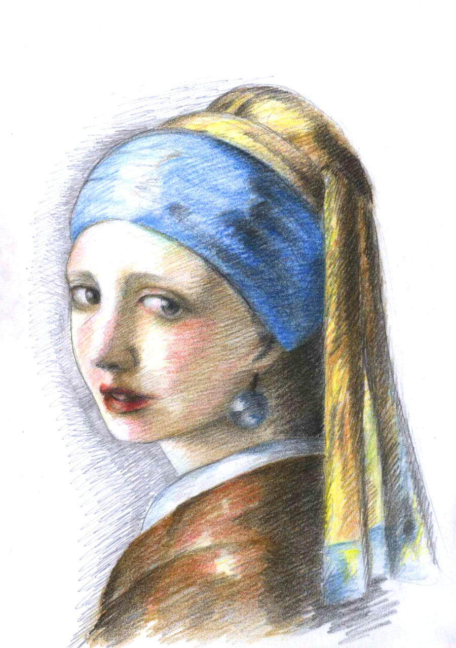 how to draw the girl with the pearl earring