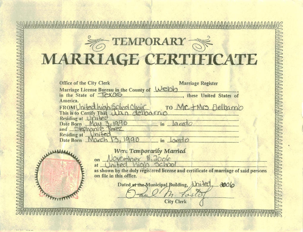 Temporary Marriage Certificate by Princess-Tephy on DeviantArt