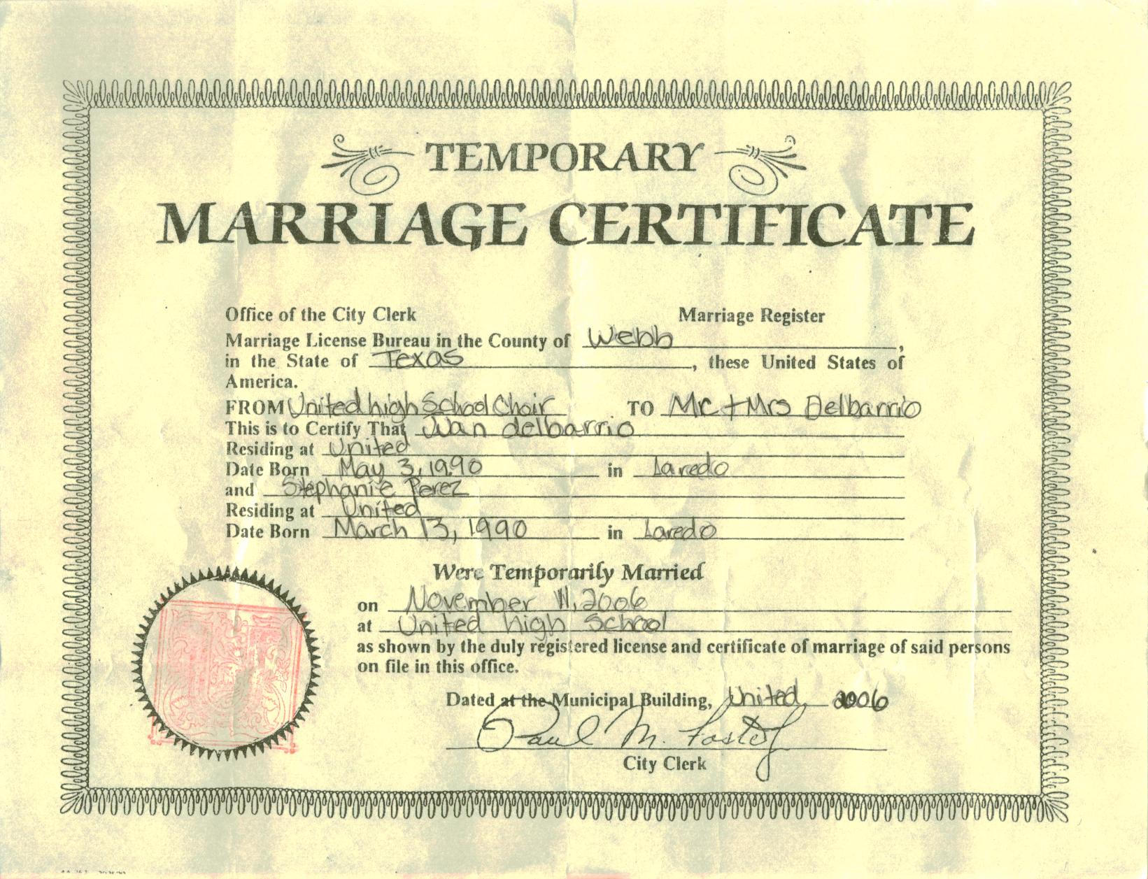 Temporary Marriage Certificate By Princess Tephy On Deviantart