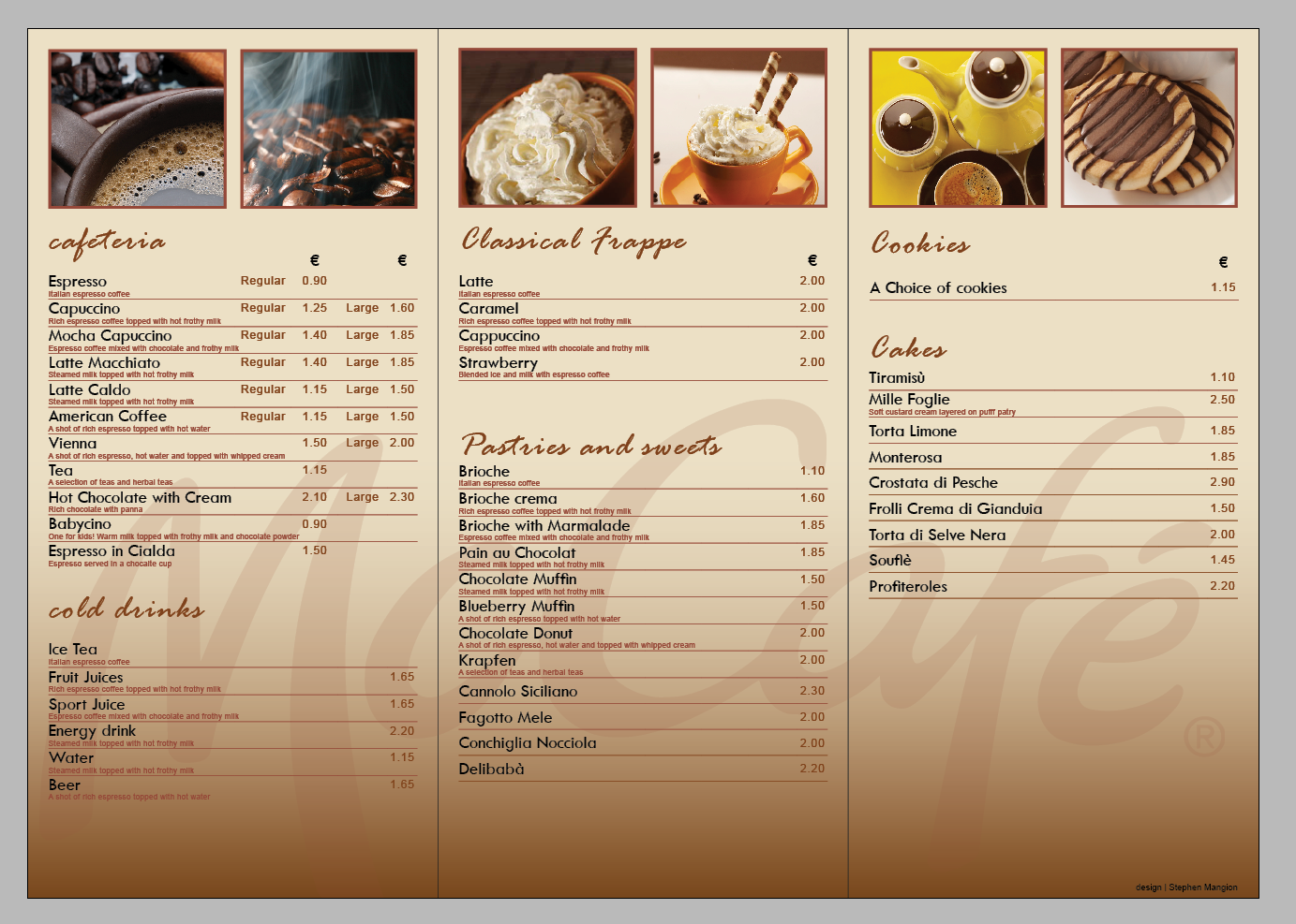 Cafe Menu Design Writing In Frannce