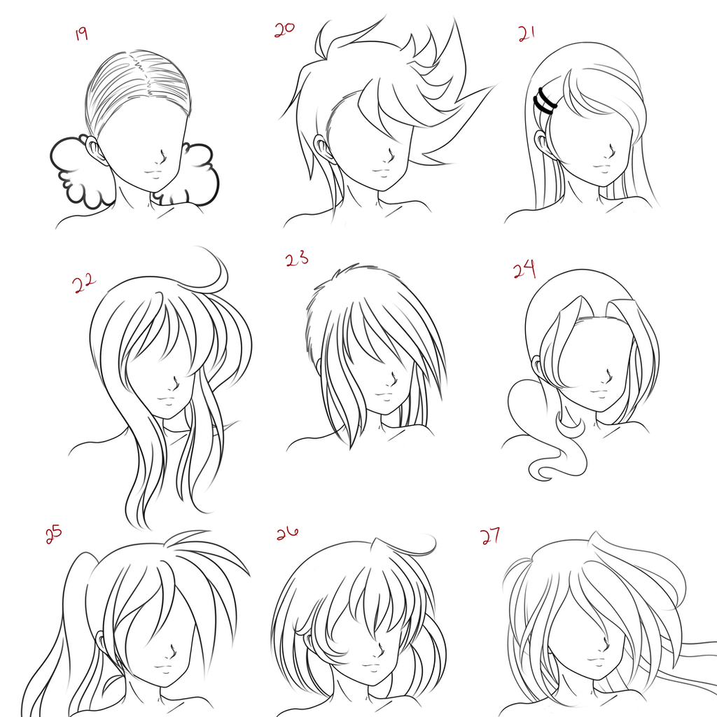 Line Drawing Hair : Anime female hair style by ruuruu chan on deviantart