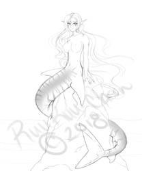Shark Mermaid WIP by RuuRuu-Chan