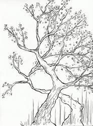 Hokusai Inspired Trees Lineart by Amashirotsuki
