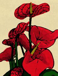 Red Flowers by Amashirotsuki