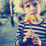 A boy with a yellow flower