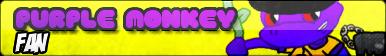 Purple Monkey Fan Button by pm58790