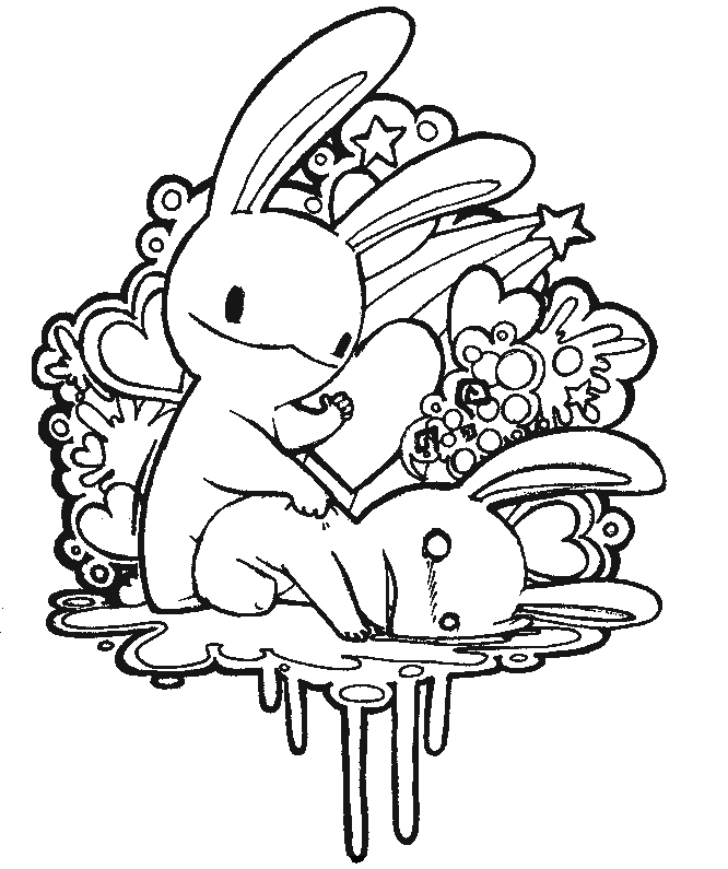 Bunny love coloring page by like minded ind
