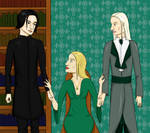 Severus Snape with Narcissa and Lucius Malfoy