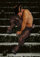 Satyr on steps by poppypogue