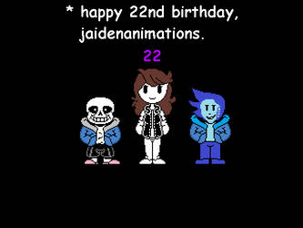 Jaiden's 22nd Birthday Submish (Ft. me and Sans) by Fr05tA113