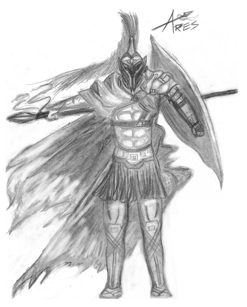 Greek God Ares Drawing Ares, God of War by Po...