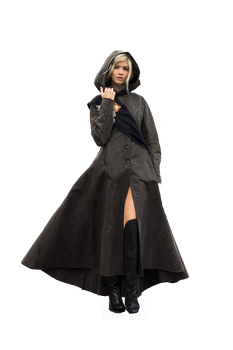 cloaked blonde woman