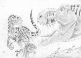 T-Rex Vs VelociraptorsIII by ebelesaurus