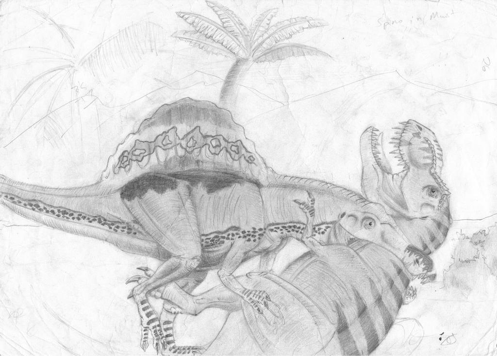 spinosaurus vs t-rex by ebelesaurus on DeviantArt