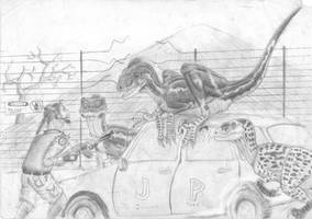 Raptor trouble....... by ebelesaurus