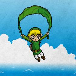 Link gliding with Deku Leaf