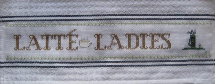 'Latte Ladies' Cross-Stitch Tea Towel ~ Golf 2