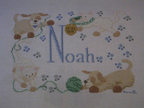 'Noah' Baby Name Cross Stitch