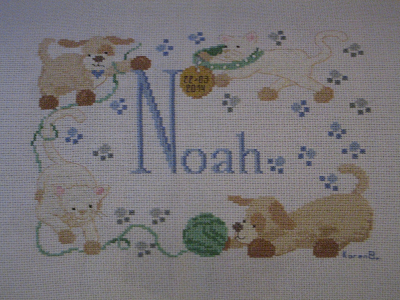 'Noah' Baby Name Cross Stitch by canadiankazz