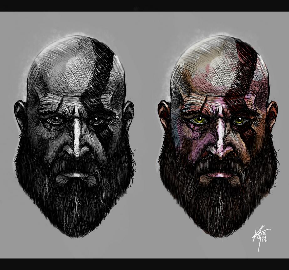 Bearded Kratos God Of War by KxG-WitcheR