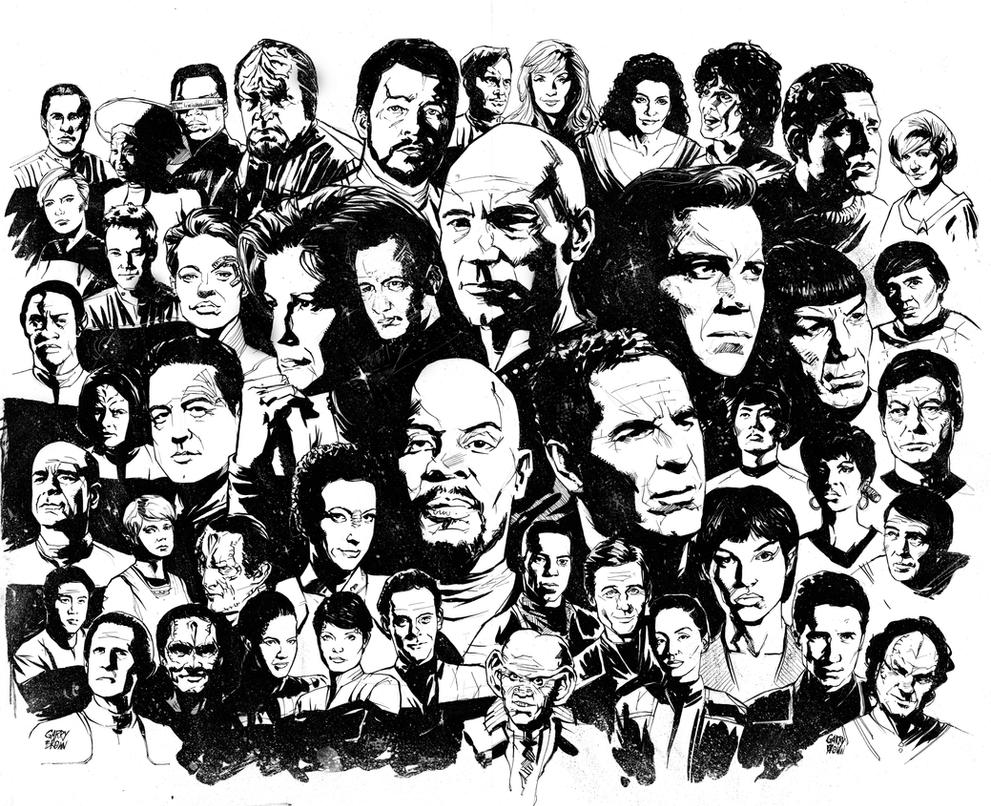 Line Art Characters : Star trek by thisismyboomstick on deviantart