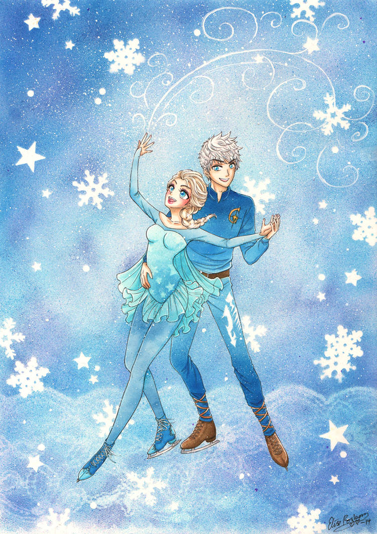 Jack Frost and Elsa Ice Skating