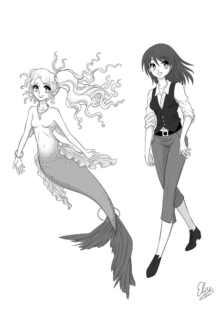 Mermaid Yuri Character Design by hyacinthess