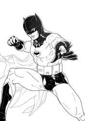 Retro Bats ill (B+W) by bvcomics