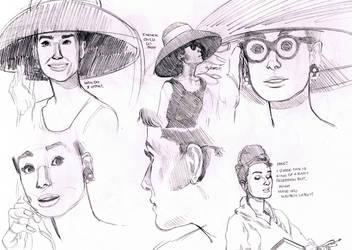 Breakfast at Tiffany's - Audrey Hepburn Studies 2 by MissTamapaa