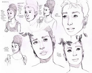 Breakfast at Tiffany's - Audrey Hepburn Studies 4 by MissTamapaa