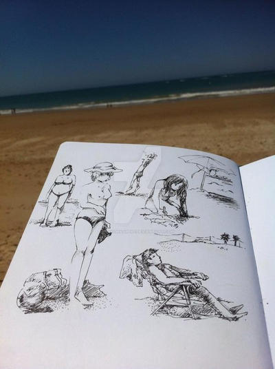 Drawing at the beach by MiyuWasHere