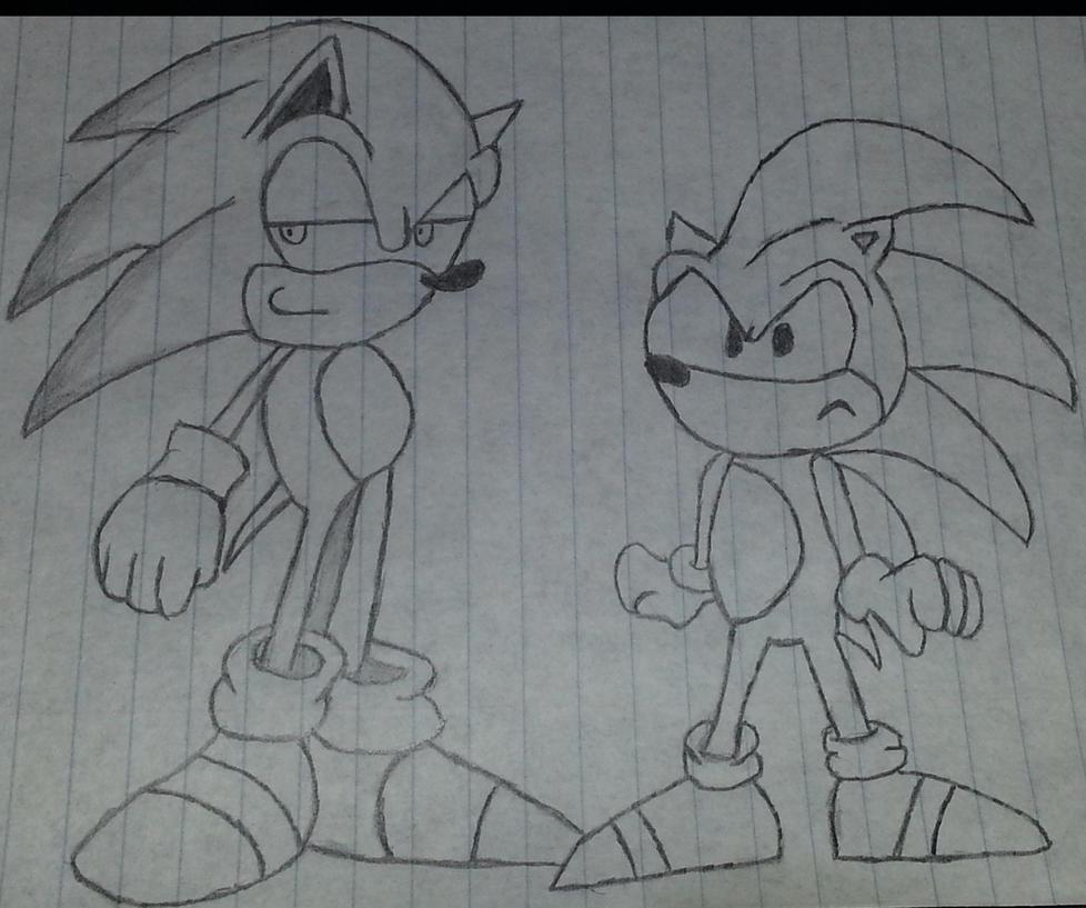 Classic Sonic Modern Sonic by Quontum-Quade