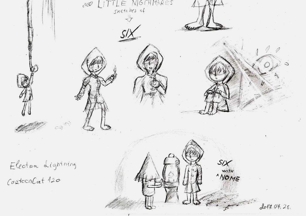 Little Nightmares sketches of Six by Cartooncat120
