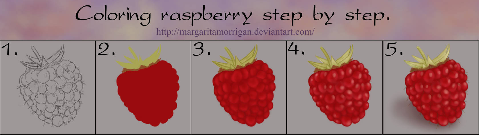 Coloring raspberry step by step