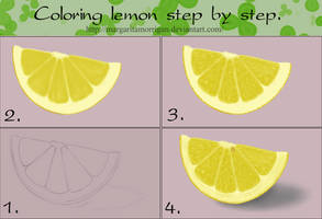 Coloring lemon, step by step