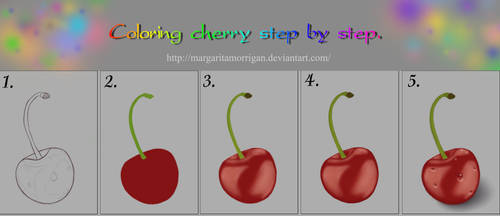 Coloring cherry, step by step