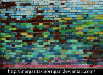 colored brick wall by margarita-morrigan