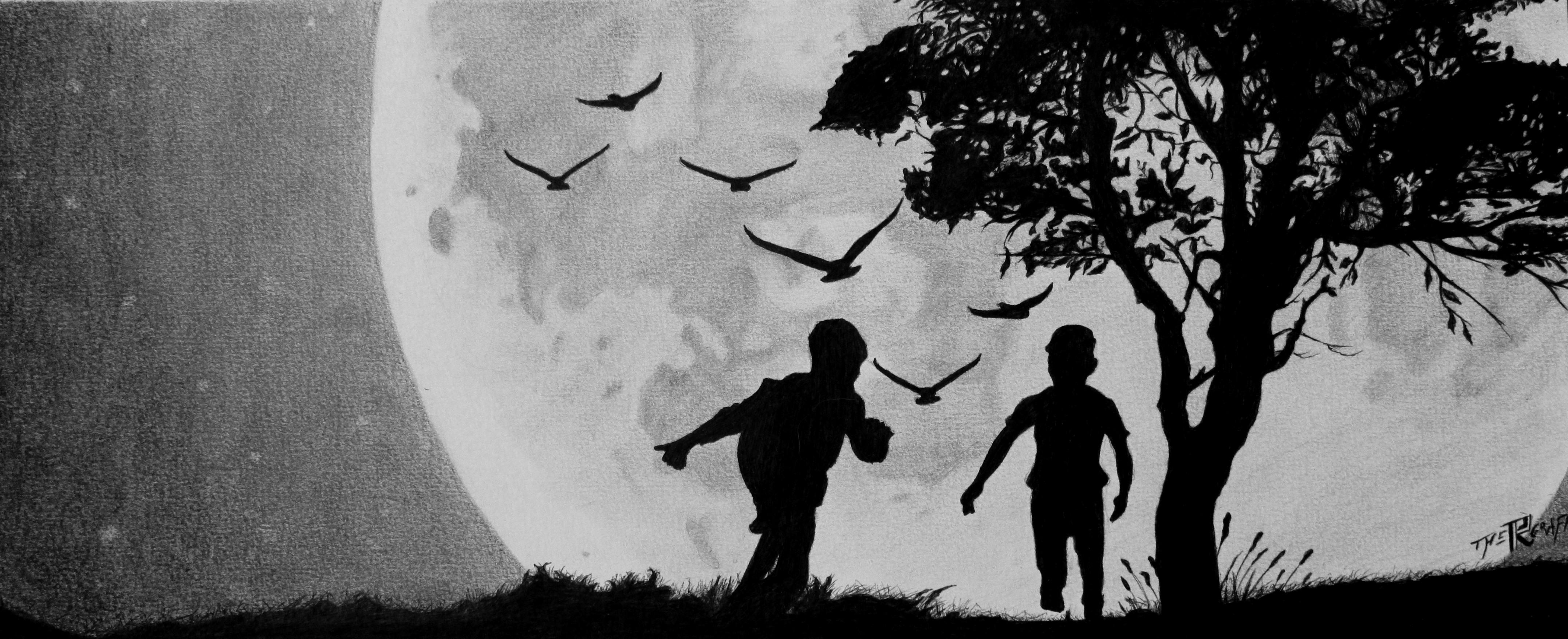 Paysage enfant lune au bic