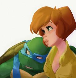 Leonardo and April by 8bitconfetti