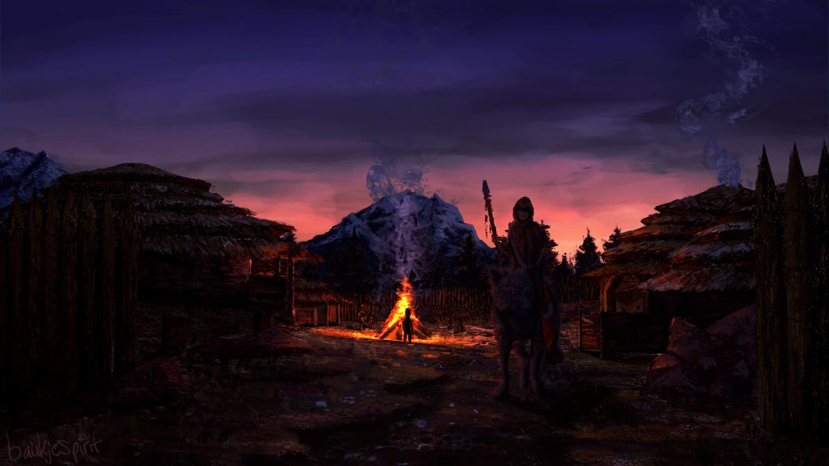 Tribe village - concept art by BaukjeSpirit