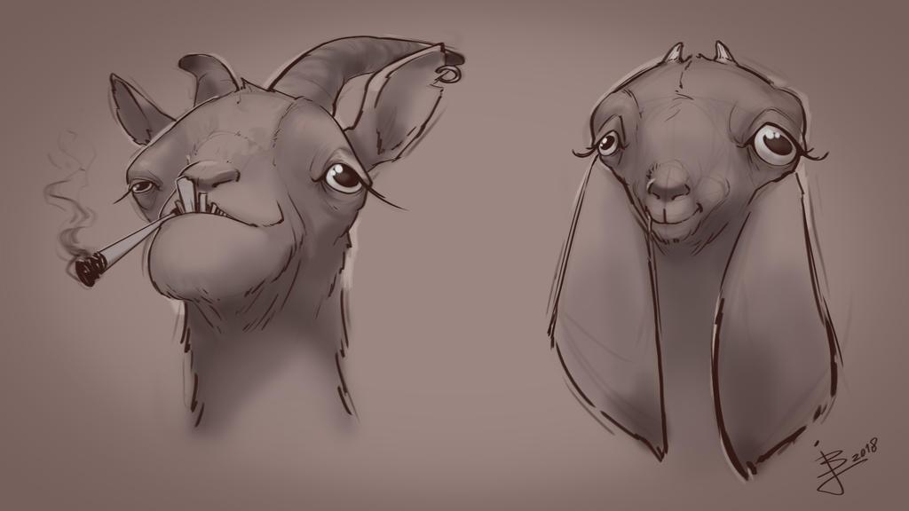 Derpy Goat Sketches by BaukjeSpirit