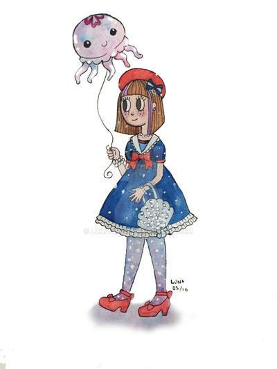 Sailor Lolita with Jellyfish Balloon by Luna-Miau