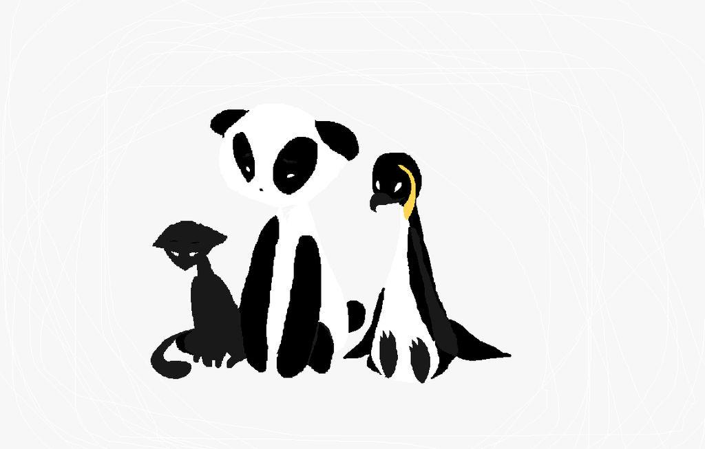 A Cat,A Panda, and a Penguin