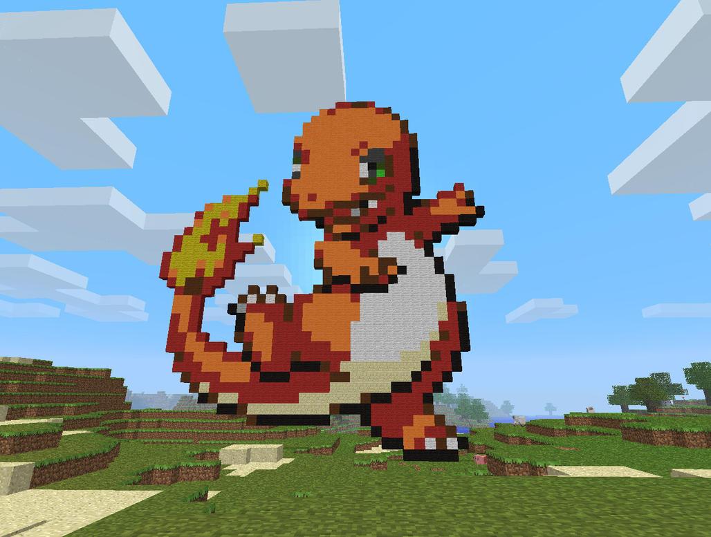 Minecraft art charmander by 04porteb on deviantart for Porte mine 0 5