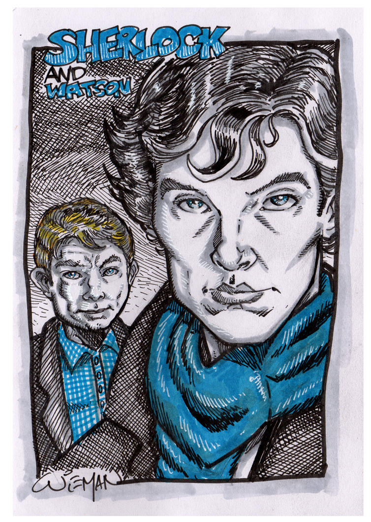 Blue and Yellow Sketchbook - Sherlock and Watson by axerabbit
