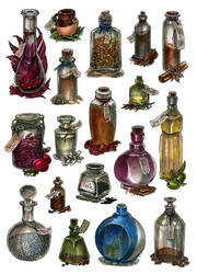 Bottles - watercolor by JuliaTar
