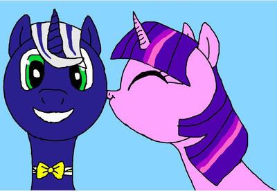 Twilight Sparkle kiss my OC Star Luck  by Lekonar666