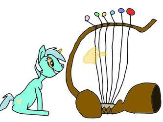 Lyra it's playing the harp of Gaston Lagaffe  by Lekonar666